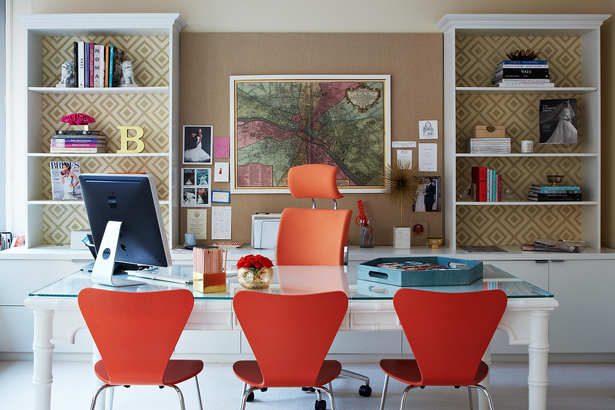 The desk area in Brides Editor-in-Chief Keija Minor's light-filled office.