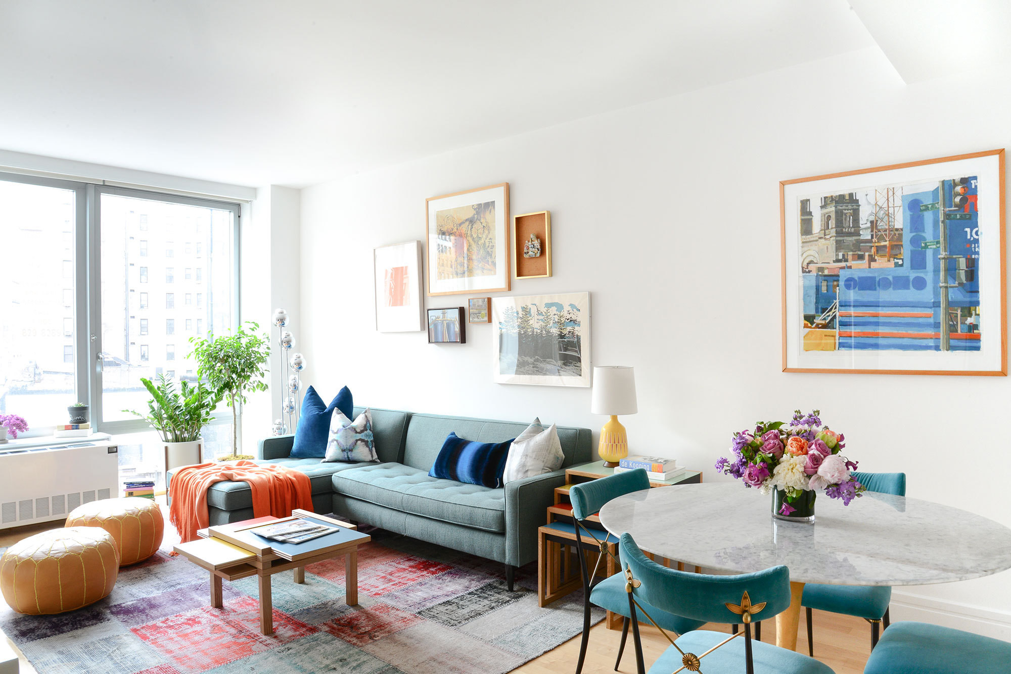 Homepolish designer Matthew Cane incorporated color and texture in a cheerful second home in New York City for a New Jersey couple.