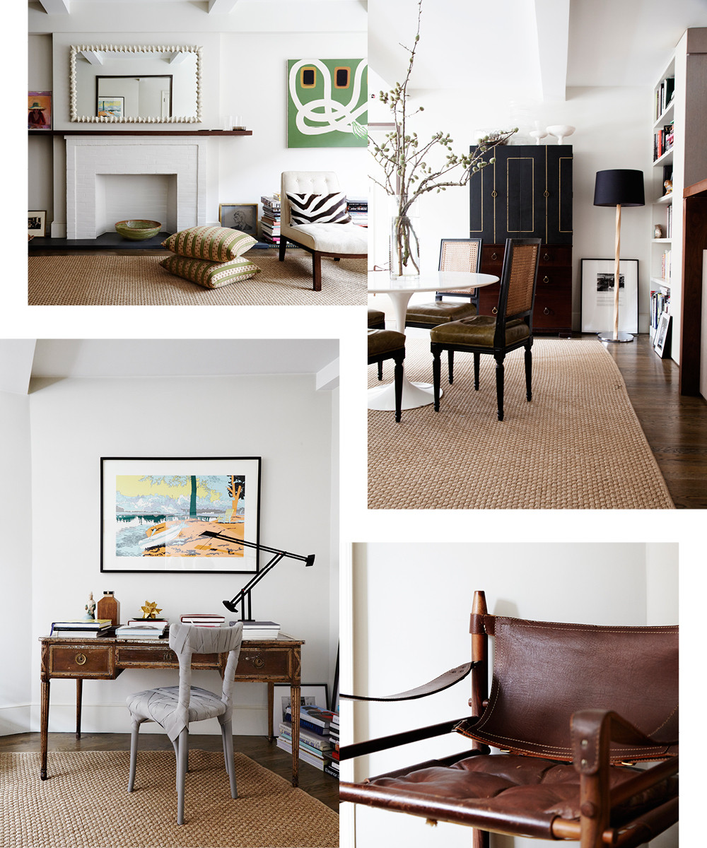 Clockwise from top left: The stone mantel in the living room lends scale and structure. A Saarinen table anchors the adjacent dining area. A vintage Arne Norell chair sits in the den. Peter Traag's Mummy chair provides a contemporary counterpoint to an antique desk from the 1940s.